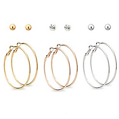 Mood - Set of six mixed metal stud and hoop earrings
