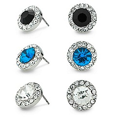 Mood - Set of three decorative coloured stud earrings