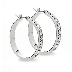 Mood - Crystal encased silver panelled hoop earring