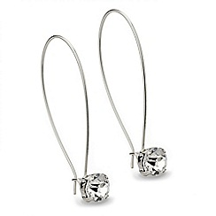 Mood - Long crystal silver drop earring
