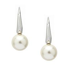 Mood - Polished silver stick pearl drop earring