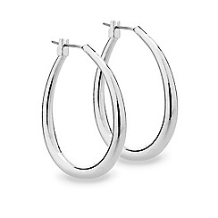 Mood - Polished silver oval hoop earring