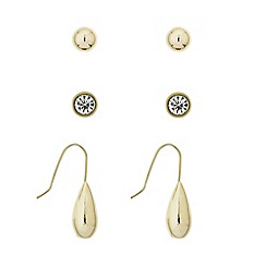 Mood - Set of three crystal stud and teardrop earring