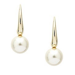 Mood - Polished gold stick pearl drop earring