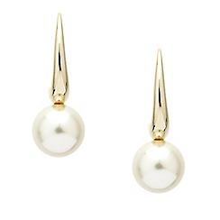 Mood - Polished gold stick pearl drop earring