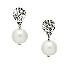 Mood - Crystal disc and pearl drop earring