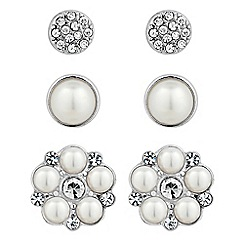 Mood - Set of three pearl and crystal stud earrings
