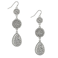 Mood - Triple crystal filigree disc drop earring