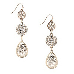 Mood - Triple rose gold filigree disc drop earring