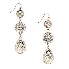 Mood - Triple rose gold filigree disc drop earring