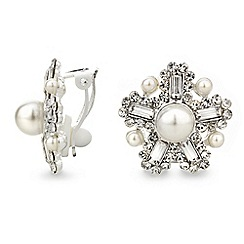 Mood - Pearl flower clip on stud earring