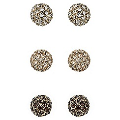 Mood - Set of three textured gold ball stud earrings