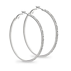 Mood - Large crystal encased silver hoop earring