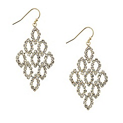 Mood - Diamante crystal navette gold chandelier earring