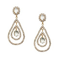 Mood - Diamante crystal double teardrop earring