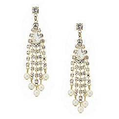 Mood - Diamante crystal gold pearl drop earring