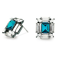 Mood - Blue stone baguette surround stud earring