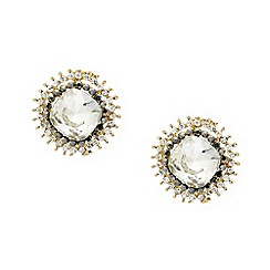 Mood - Curved square crystal surround stud earring