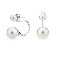 Mood - Double cream pearl ear lobe earring