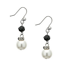 Mood - Jet bead and pearl drop earring