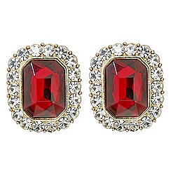 Mood - Red rectangular crystal surround stud earring