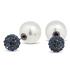 Mood - Pearl and blue crystal ball front and back earring