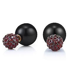 Mood - Red crystal and jet ball front and back earring