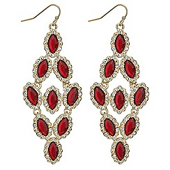 Mood - Red navette stone surround chandelier earring