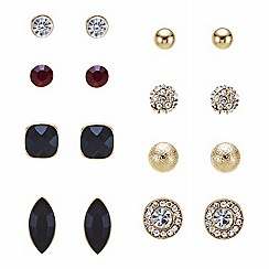 Mood - Set of eight jet and crystal stud earrings