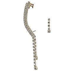 Mood - Diamante crystal drop ear cuff and stud earring