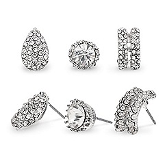 Mood - Set of three crystal embellished stud earrings