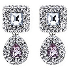 Mood - Embellished square and purple teardrop earring