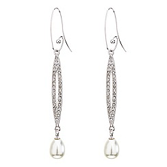 Mood - Elongated crystal loop pearl drop earring