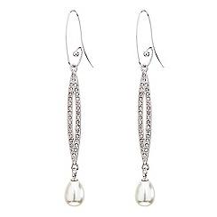 Mood - Elongated crystal loop pearl drop earring