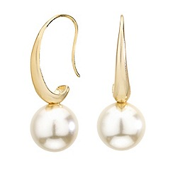 Mood - Polished gold pearl drop earring