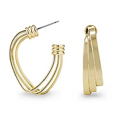 Mood - Polished gold triple panel hoop earring
