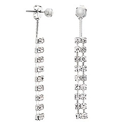 Mood - Diamante crystal tassel front and back earring