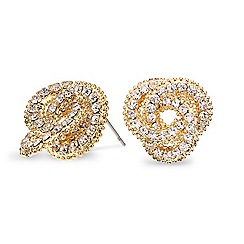 Mood - Diamante crystal gold knot stud earring