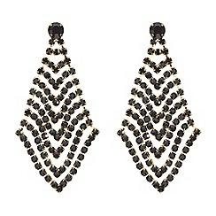 Mood - Black diamante chevron drop earring