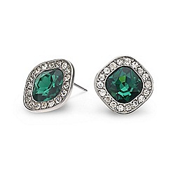 Mood - Green square crystal surround stud earring