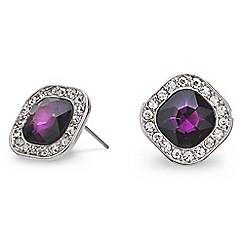 Mood - Purple square crystal surround stud earring