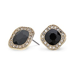 Mood - Black square crystal surround stud earring