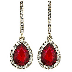 Mood - Red teardrop crystal surround earring