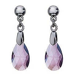Mood - Hematite and purple teardrop earring