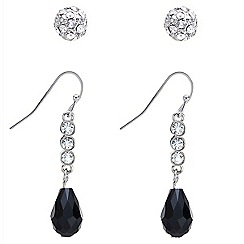 Mood - Crystal stud and bead drop earring set
