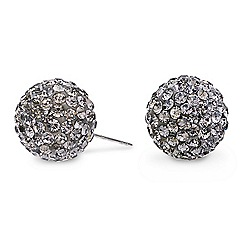 Mood - Crystal embellished hematite stud earring