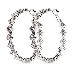 Mood - Crystal diamond shaped link hoop earring