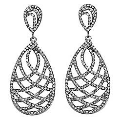 Mood - Crystal embellished swirl teardrop earring