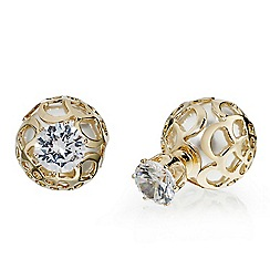 Mood - Crystal and filigree encased pearl front and back earring