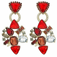Mood - Mixed red stone embellished drop earring